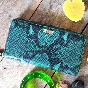 Kate Spade exotic print zippered wallet